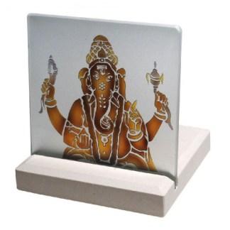 Teelicht Ganesha Glas Stein graviert 10x13cm