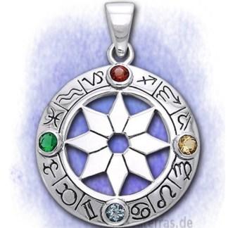 Anhänger Astrologisches Rad aus 925-Silber