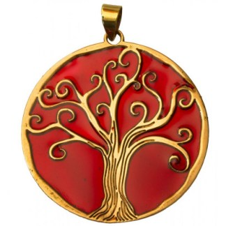 Anhänger Baum des Lebens Bronze rot 45mm