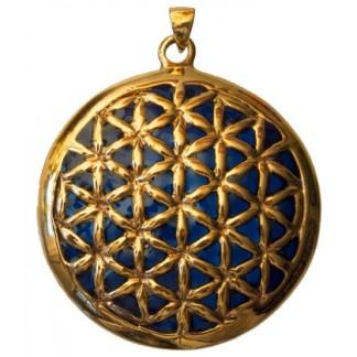 Anhänger Blume des Lebens Bronze blau 45mm