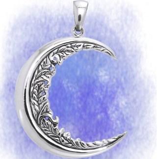 Anhänger Halbmond mit Ornamenten aus 925-Silber