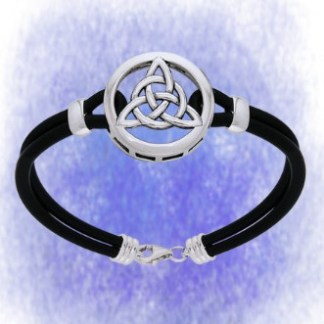 Armband Charmed mit Lederband aus 925-Silber
