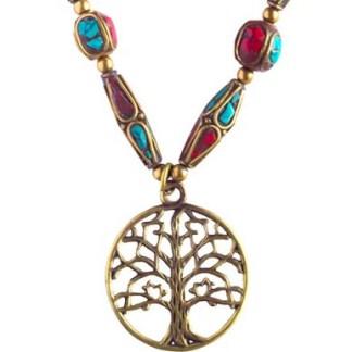 """Halskette Baum des Lebens Messing und Nepalperlen - Halskette """"Baum des Lebens"""" Messing und Nepalperlen"""
