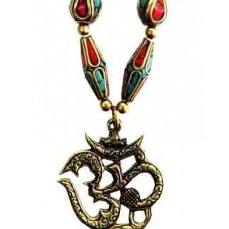 Halskette OM Messing und Nepalperlen