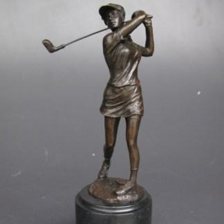 Bronze Figur Frau - Golfspielerin schlagend