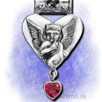 Anhänger Cupido - Engel der Verliebten m. Rubin aus 925-Silber