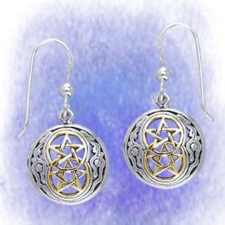 Ohrringe Keltische Pentagramme aus 925-Silber vergoldet