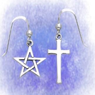 Ohrringe Pentagramm und Kreuz aus 925-Silber