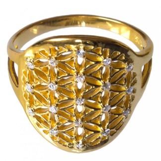 Ring Blume des Lebens aus 925 Silber 2cm vergoldet