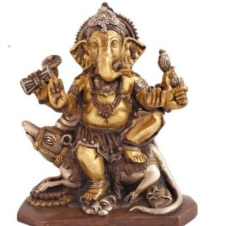Ganesha mit Ratte 17,5cm kupfer-silber-gold