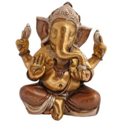 Ganesha sitzend 18cm kupfer-silber-gold