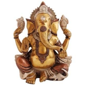 Ganesha sitzend 23cm kupfer-silber-gold
