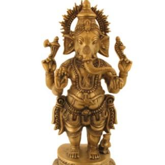 Ganesha stehend 58cm hell antik - Krishna mit Pfau 15cm antik-silber-gold