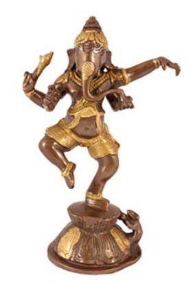 Ganesha tanzend 21cm antik-gold2
