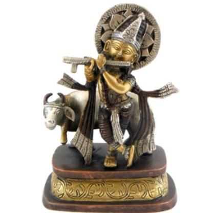 Krishna mit Kuh 15cm