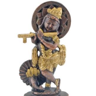 Krishna mit Pfau 15cm