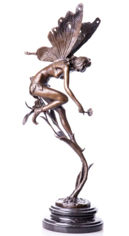 Bronzefigur Elfe auf Halm 50x20x15cm2