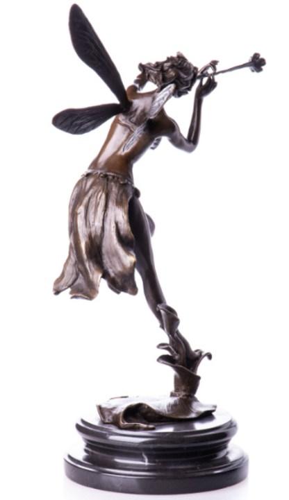 """Bronzefigur Elfe mit Flöte 42x26x16cm3 - Bronze Figur """"Elfe mit Flöte"""" 42x26x16cm"""