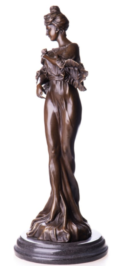 "Bronzefigur Jugendstil Frau mit Blume 40x15x15cm3 - Bronze Figur Jugendstil ""Frau mit Blume"" 40x15x15cm"