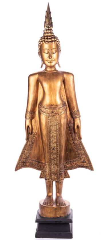 Buddha stehend aus Holz handgeschnitzt 119x39x21cm2
