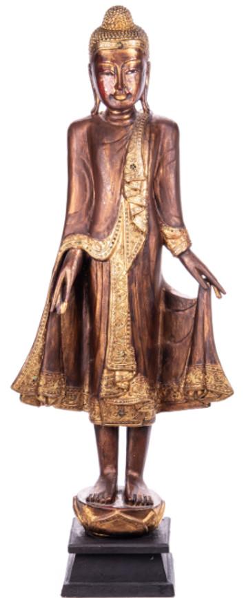 Buddha stehend aus Holz handgeschnitzt 120x40x19cm2