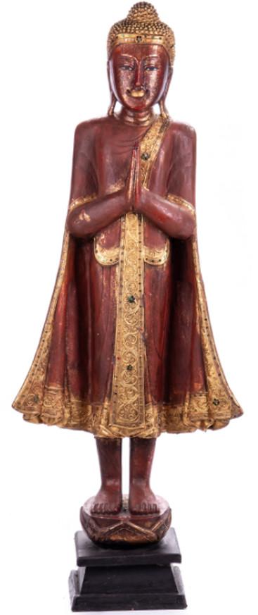 Buddha stehend aus Holz handgeschnitzt 120x40x20cm B-191