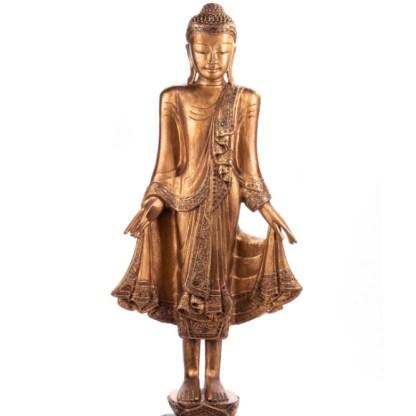 Buddha stehend aus Holz handgeschnitzt 120x40x20cm B-20