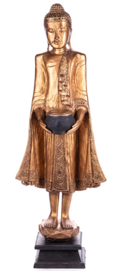 Buddha stehend mit Topf aus Holz handgeschnitzt 120x40x20cm2
