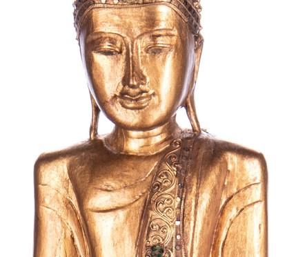 Buddha stehend mit Topf aus Holz handgeschnitzt 120x40x20cm3 - Buddha stehend mit Topf aus Holz handgeschnitzt 120x40x20cm