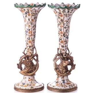 Kerzenständer Vasen mit Hirsch 34x14x12cm