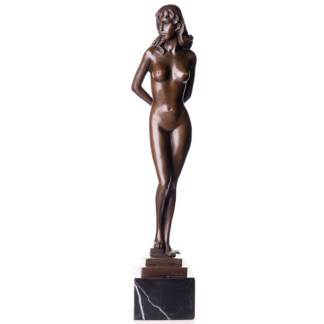 "Bronzefigur Lady auf Stufensockel 37cm - Bronze Figur ""Lady - auf Stufensockel"" 37cm"