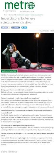 www.metronews.it Martedì 24 01 2017 - Intervista a Sabrina Impacciatore