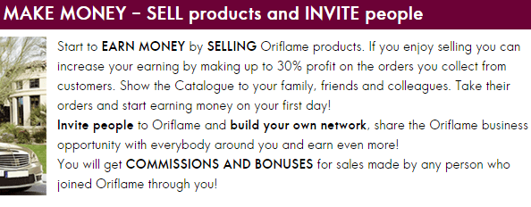 earn money with Oriflame flowchart process