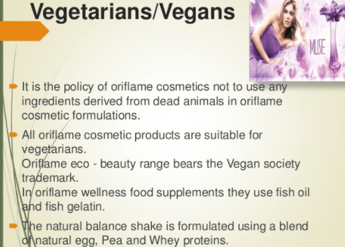 Oriflame Products Are Vegans and are 100 % Suitable for Vegetarians