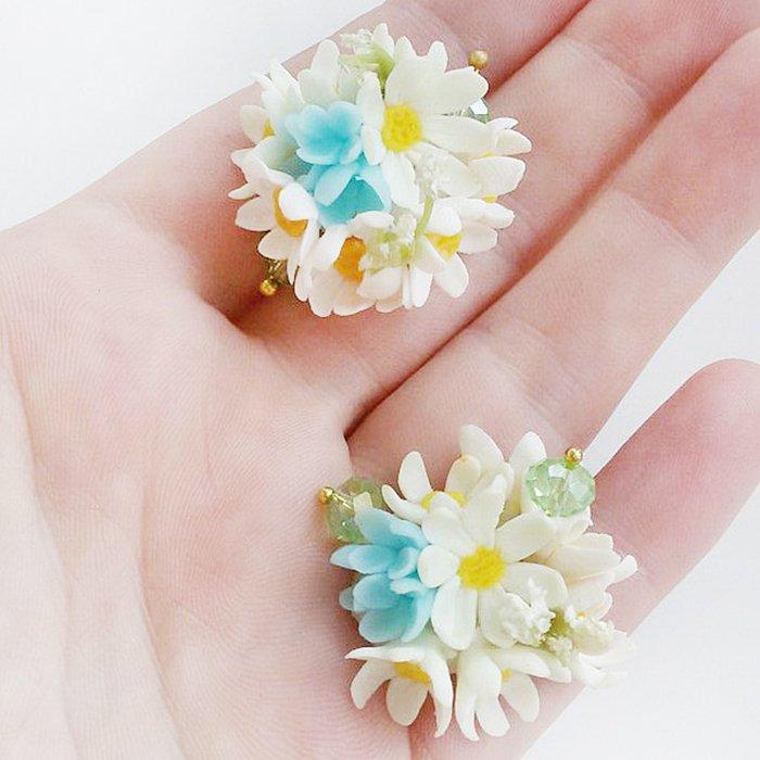 Daisy Flower Ball Earrings Artificial Handmade Jewelry