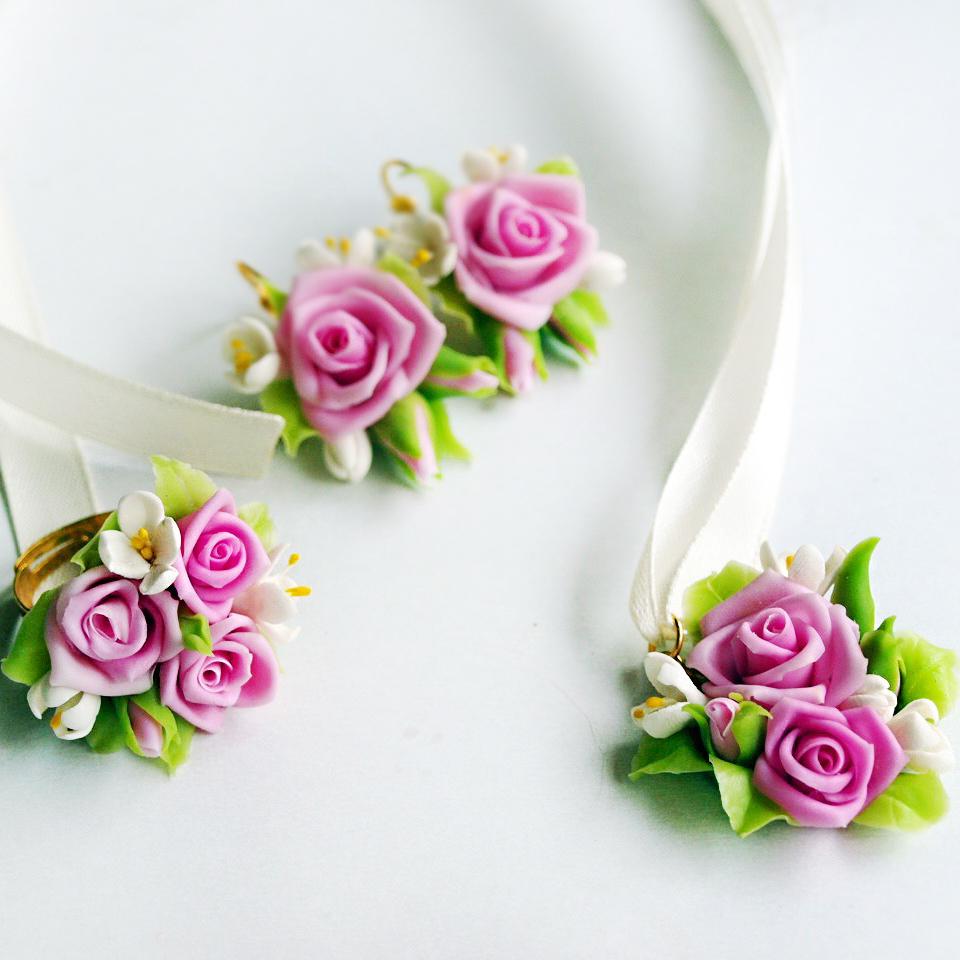 Pink Rose Flower Earrings Artificial Handmade Jewelry