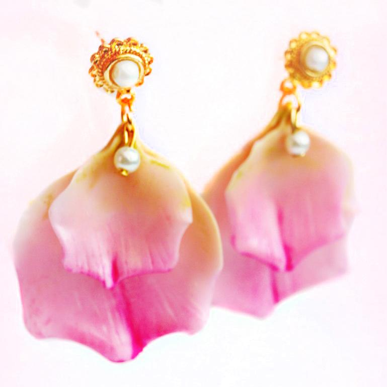 Pink Rose Petal Earrings Artificial Flowers Oriflowers