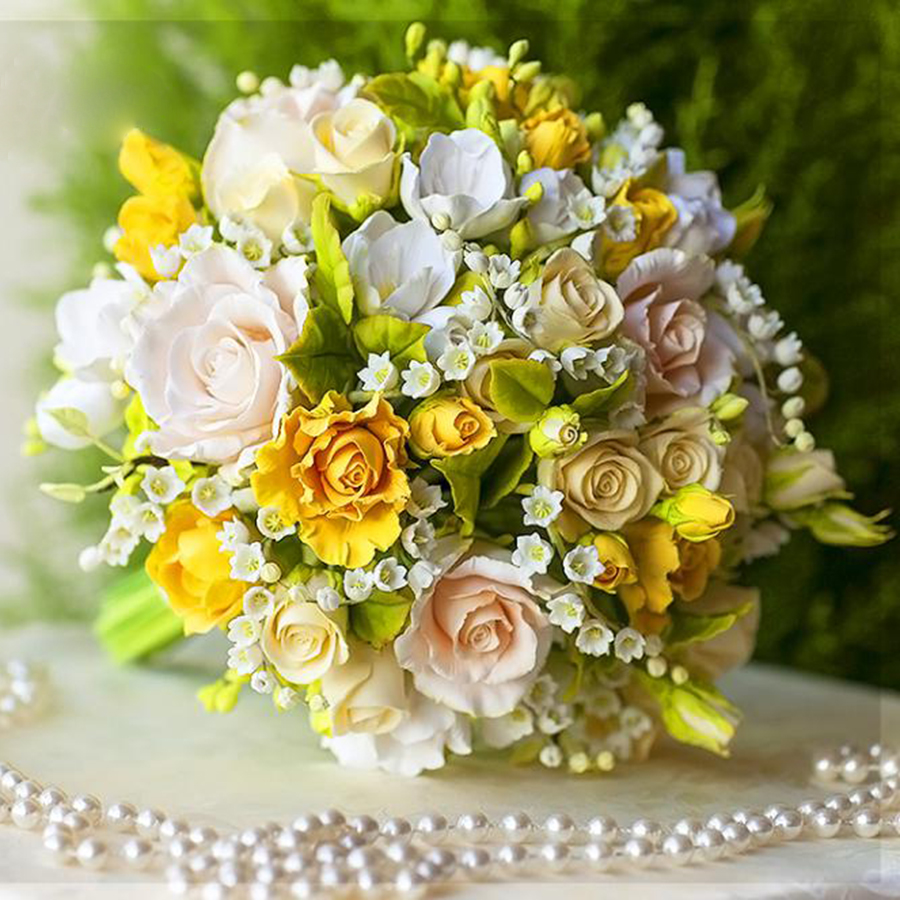 Yellow Rose Bridal Bouquet Handmade With Love Oriflowers