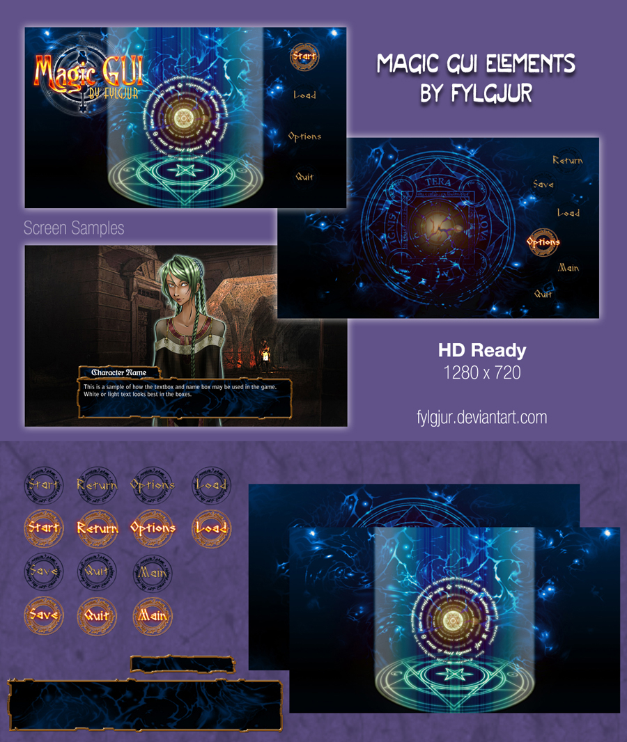 Download Magic GUI Image Pack for Ren'Py by Cospigeon on DeviantArt