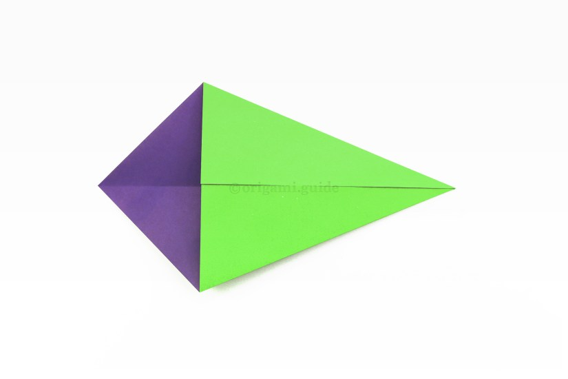 11. Bring the top right diagonal edge to align with the central crease as well.