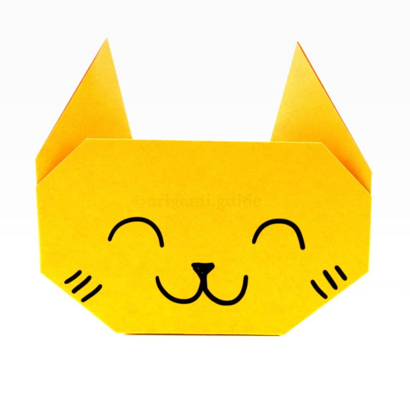 how to make an easy origami cat face origami guide