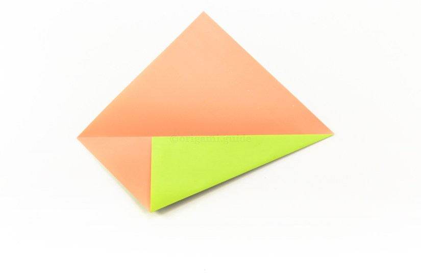 5. Fold the bottom right diagonal edge up to align with the central horizontal crease.