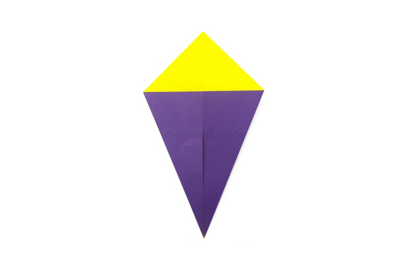 6. Rotate the paper, now it's a kite shape! The origami kite fold is complete.