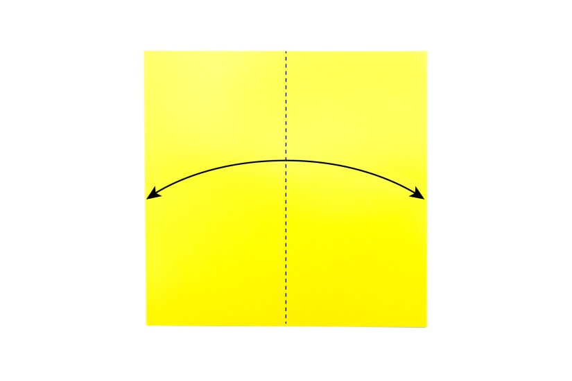2. Valley Fold. A Valley fold is symbolised by a plain black dashed line. To make a valley fold, take on edge of the paper and fold it to the opposite edge and unfold.