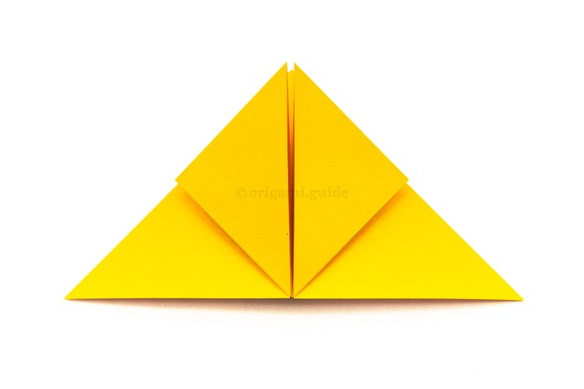 14. Fold the bottom left and right points up to the top point.