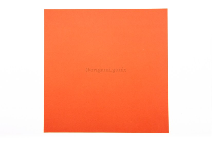 1. This is the back of the paper, often white. The inside of our origami fortune teller will be this colour.