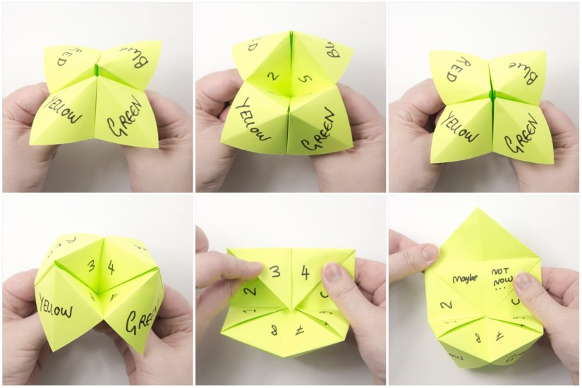 21. Ask your friend to choose a color, then open and close the model however many letters were in the color's name. Then they will choose one of the numbers, and you continue to count. Then they can choose 'up or down' and they will recieve the fortune that is written in that section.