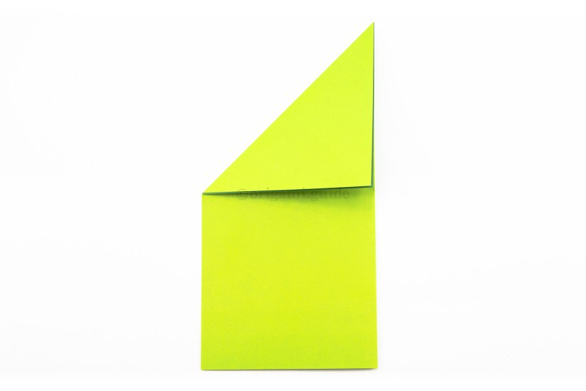 6. Fold the top left corner diagonally down to align with the right edge.