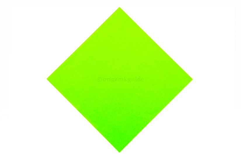 1. This is the front of the paper, our origami boat will be this colour on the lower section.