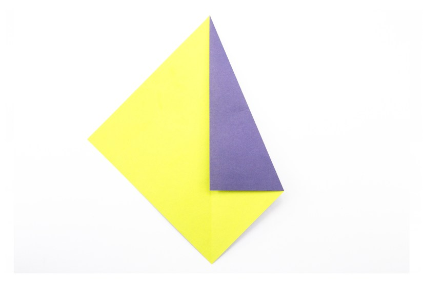 5. Fold the top right diagonal edge to meet the central vertical crease.